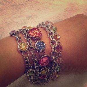 Multi-colored silver strand bracelet, NWOT